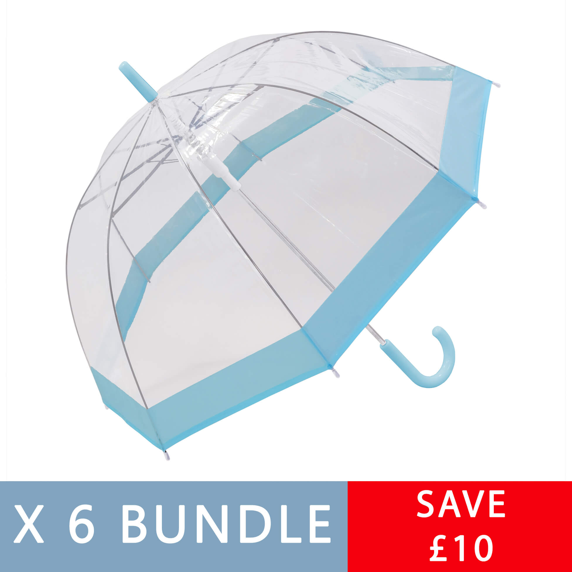Multiple Colours - Six Pack of Clear Dome Umbrellas (18006-6)