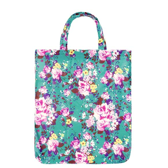 Colour In Floral Blue Reusable Shopping Bags (CB009)