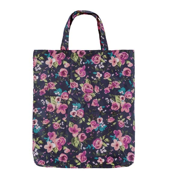 Colour In Floral Pink Roses Reusable Shopping Bag (CB009)
