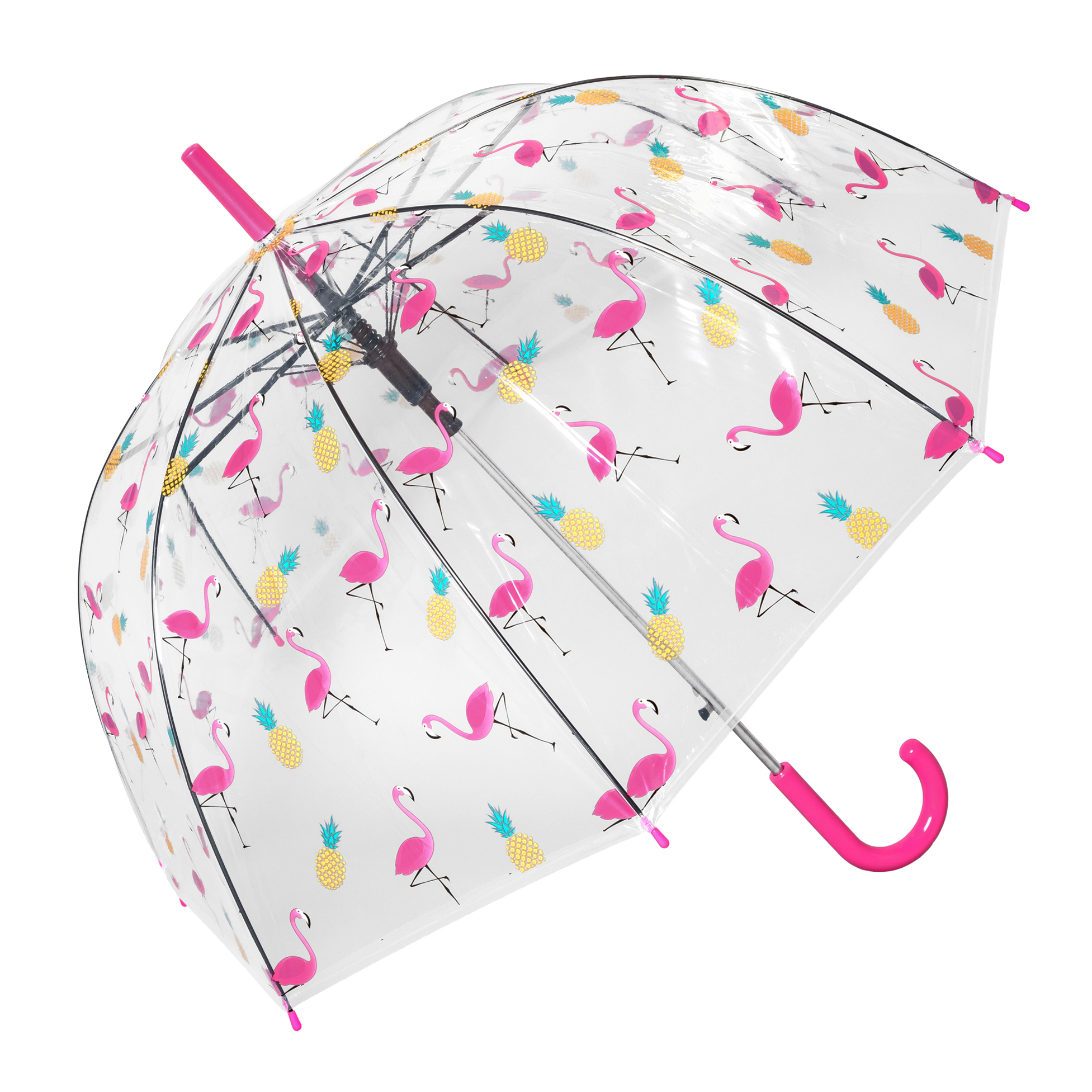 Flamingo and Pineapple Clear Umbrella (17021-F)