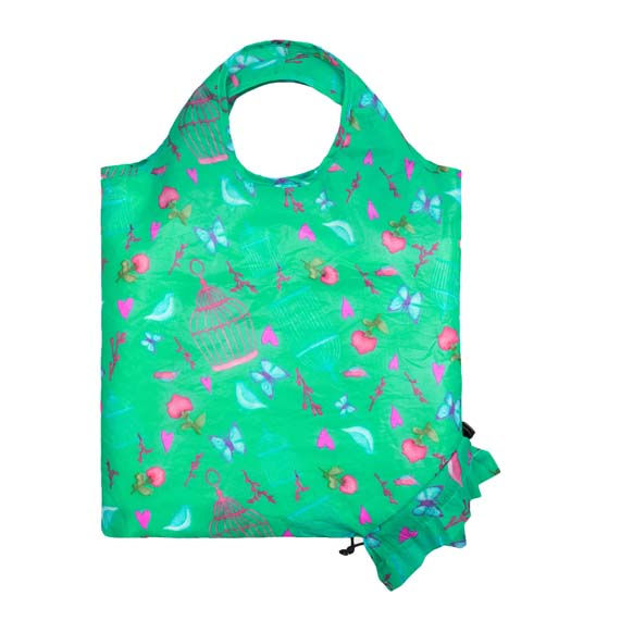 Birdcage Floral Reusable Shopping Bag (SB002)