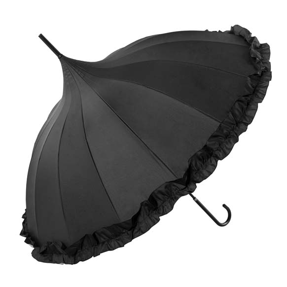 Oriental Black Ornate Pagoda Occasion Umbrella With Frilled Border (17003/BLK)
