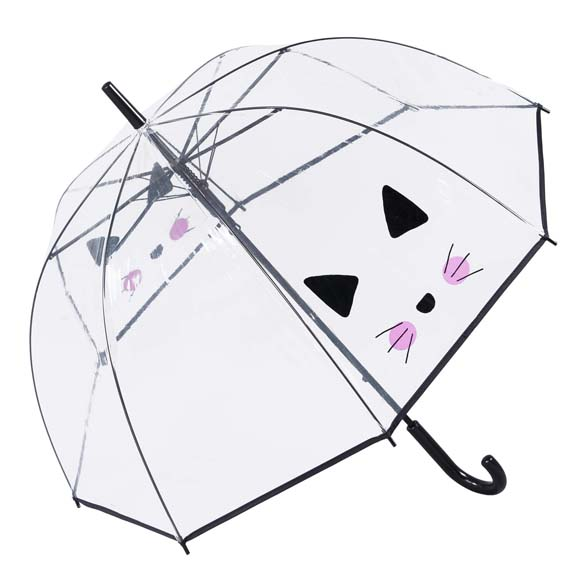 Selfie Cat Clear See Through Dome Umbrella (17011)