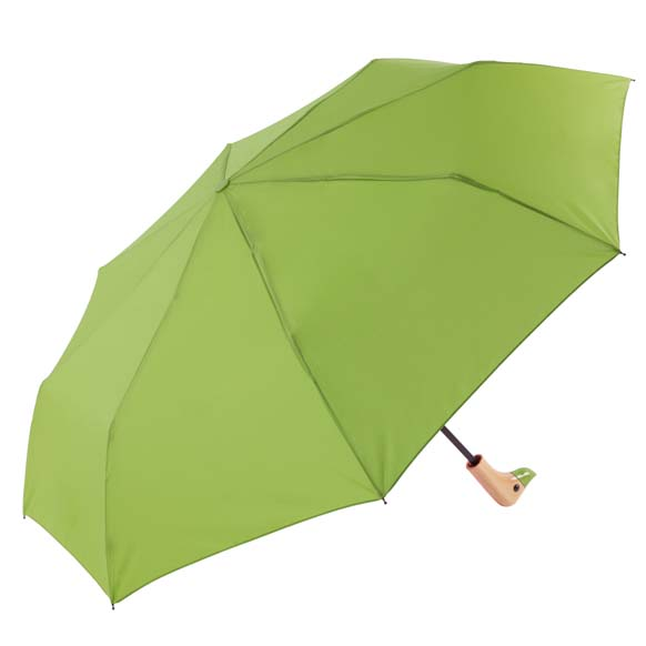 Green Wooden Duck Head Handle Ladies Compact Umbrella (31701)
