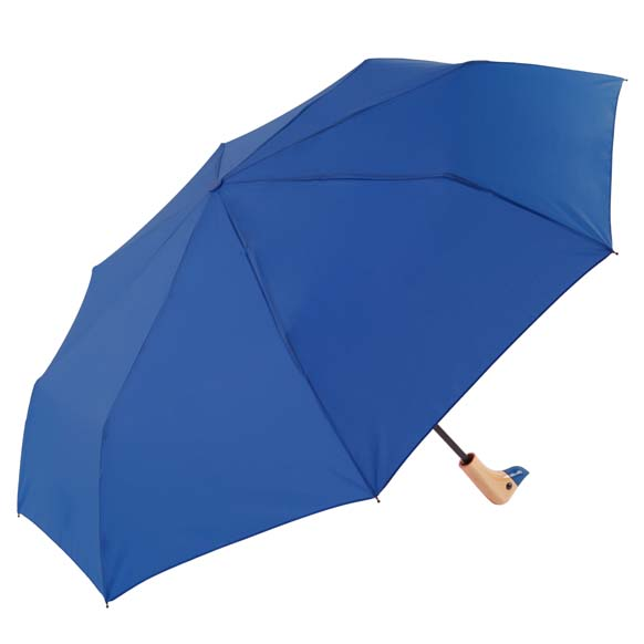 Lapis Blue Wooden Duck Head Handle Ladies Compact Umbrella (31701)
