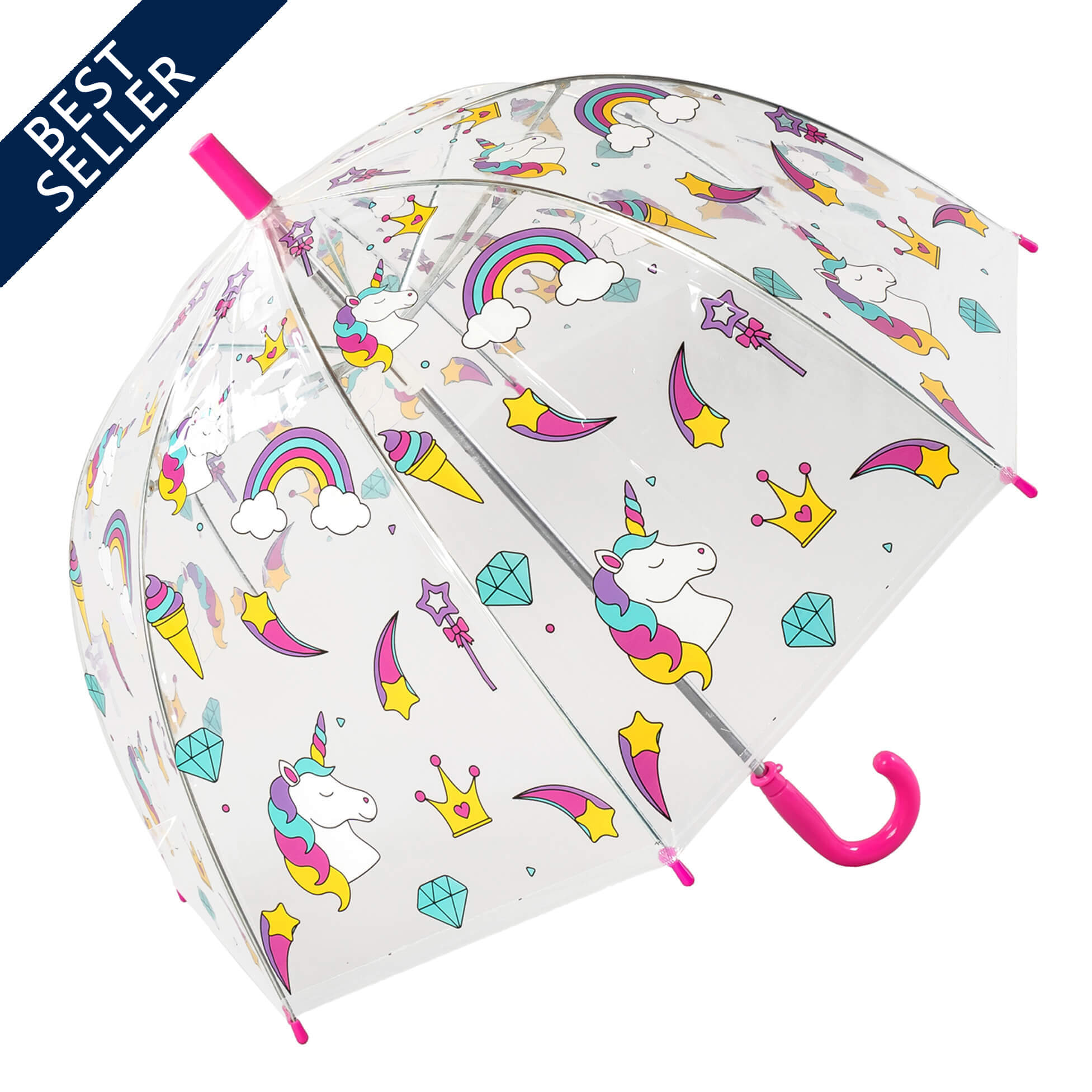 Colourful Childrens Unicorn Clear Bubble Dome Umbrella (17024)