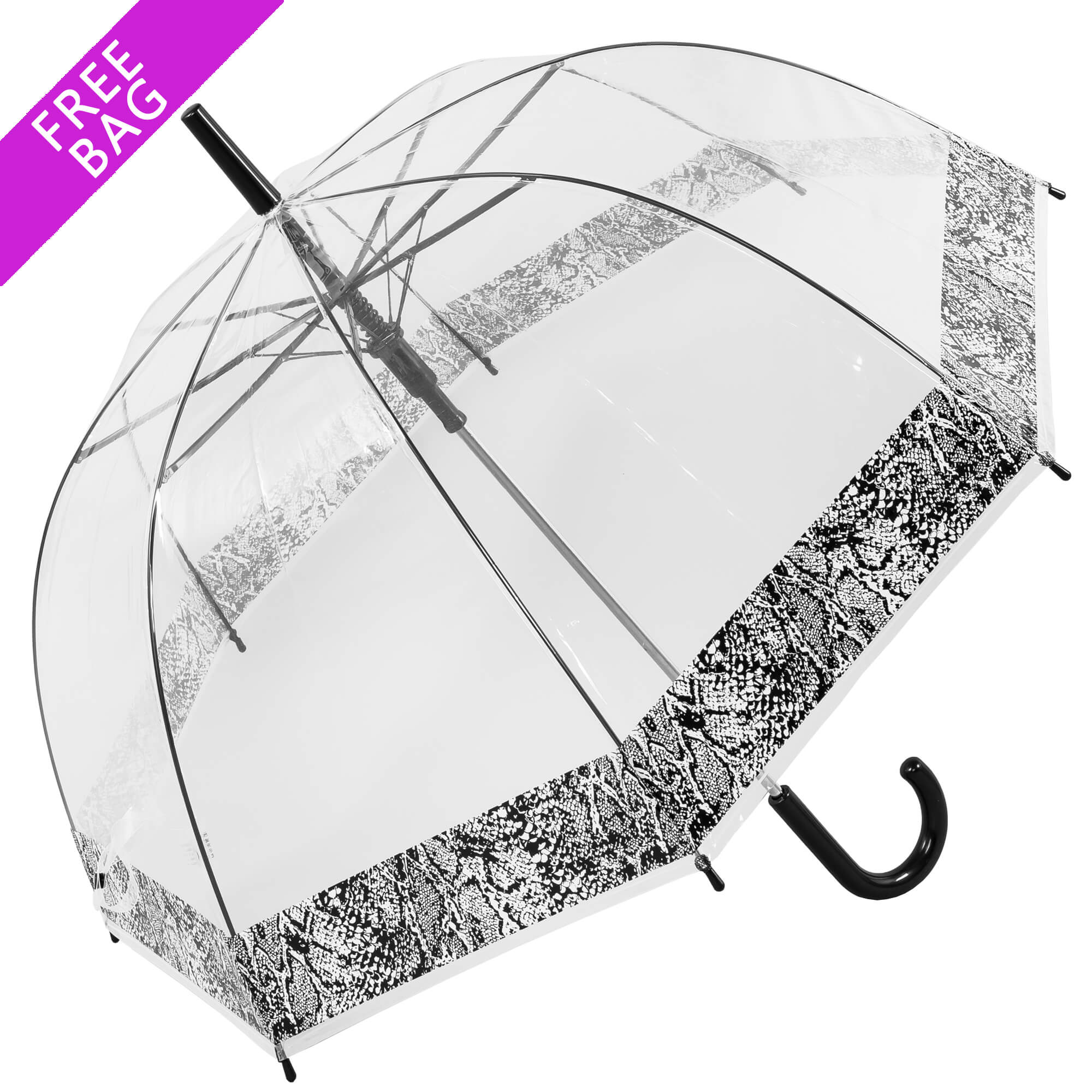 Auto Snakeskin Bordered Clear Umbrella With Free bag (18012)