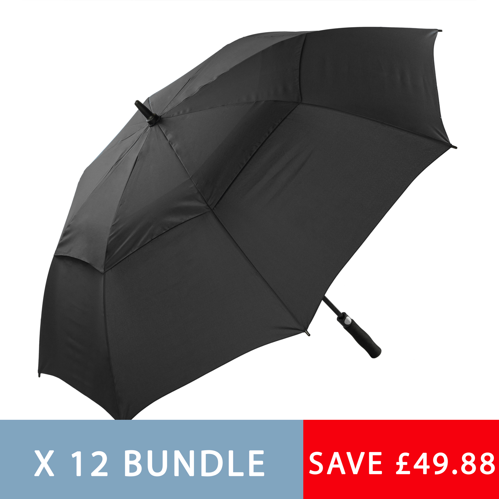 12 Automatic Open Black Golf Umbrellas (3477P-12)