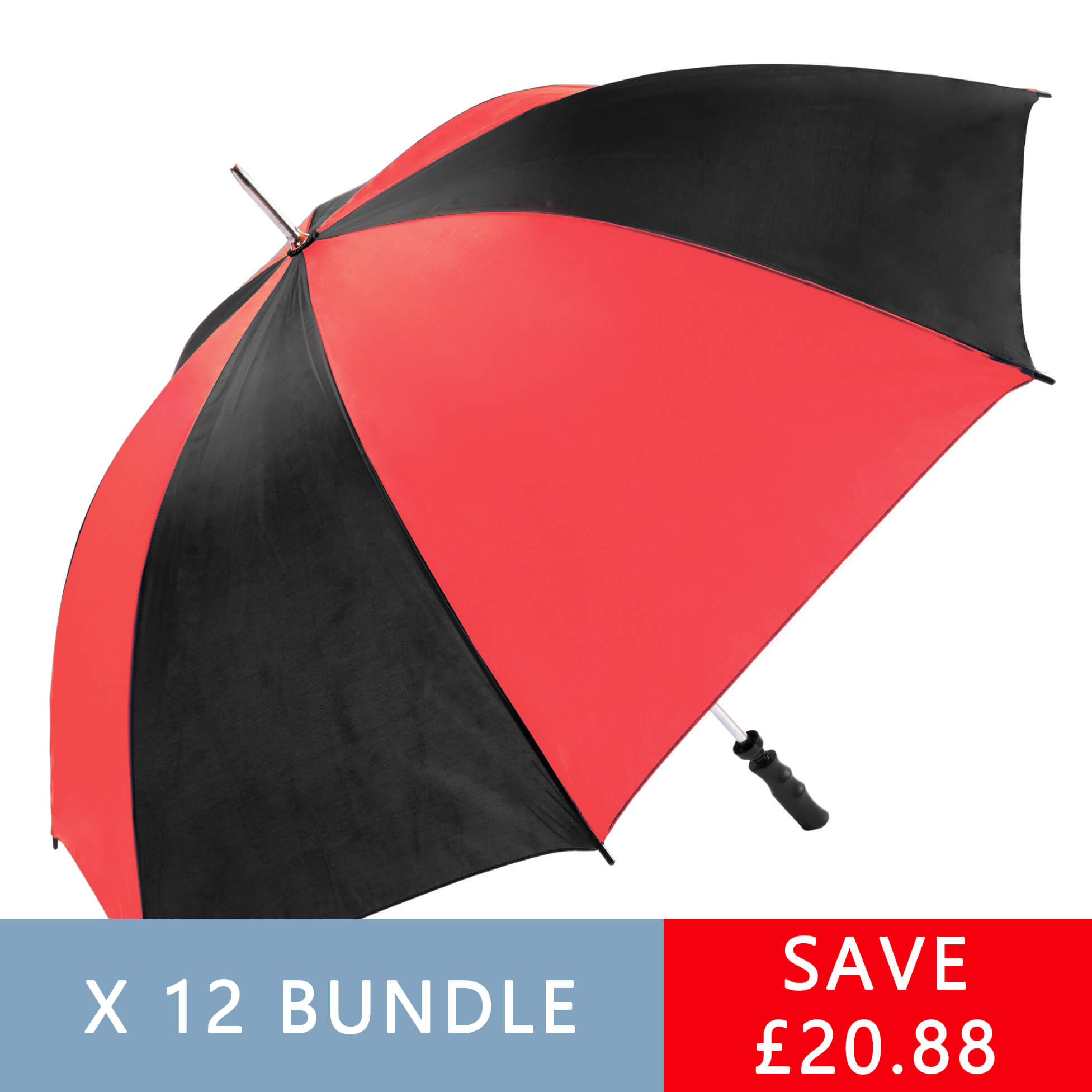 Red & Black Golf Umbrellas - 12 pack (13007-12)