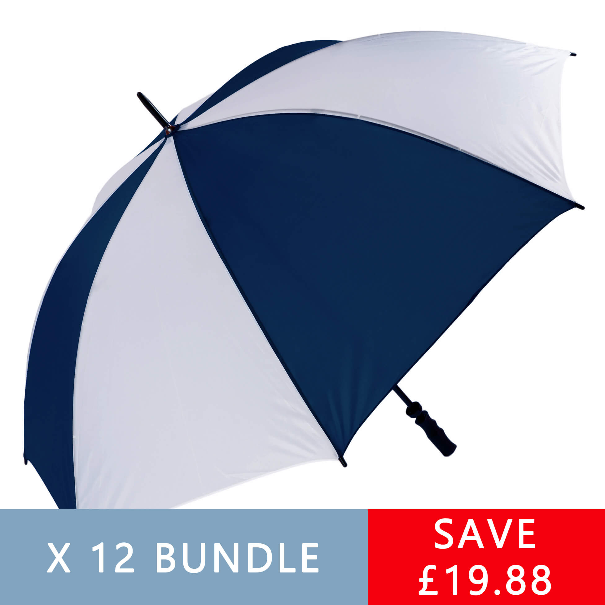 Wind Resistant Navy & White Golf Umbrella - Bundle of 12 (3473-12)