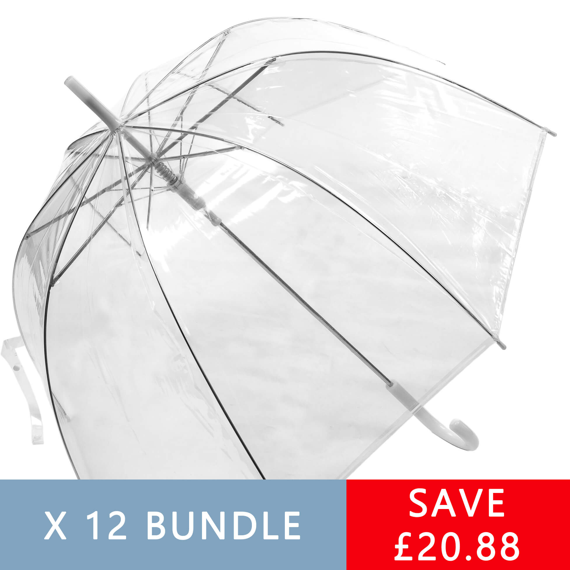 12 Pack of Auto Open Clear Umbrellas (3476-12)