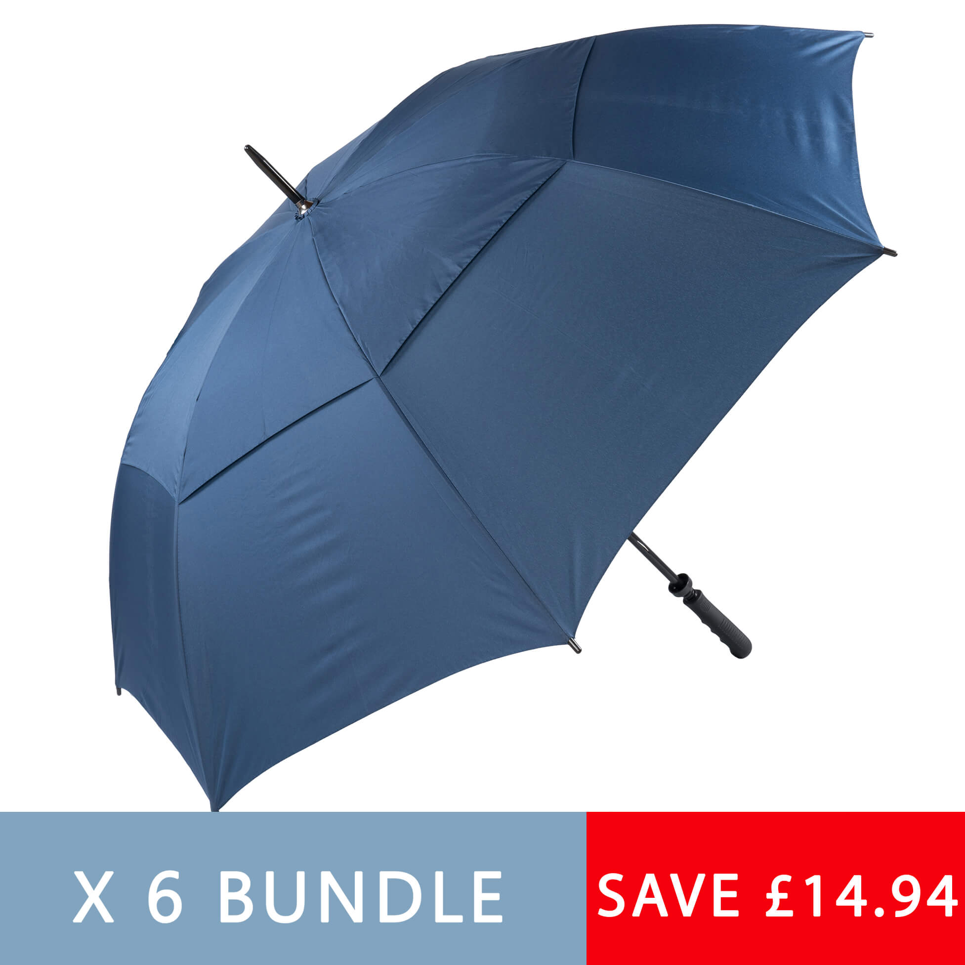 Six pack of Navy Blue Golf Umbrellas (3475P-6)