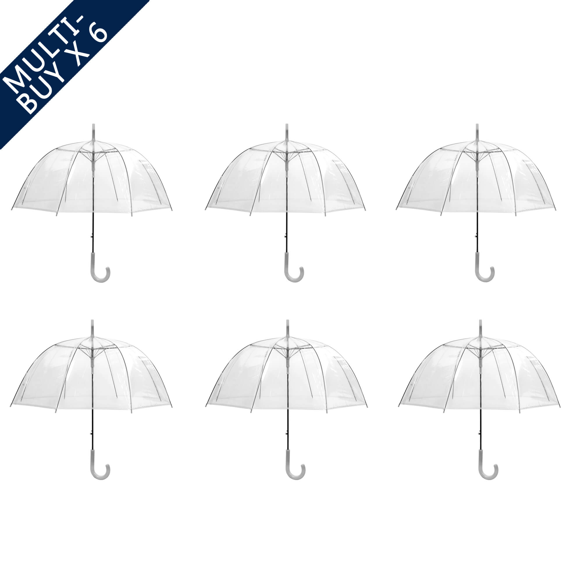 See Through Clear Wedding Umbrella Dome Bundle Auto Open (3476-6)