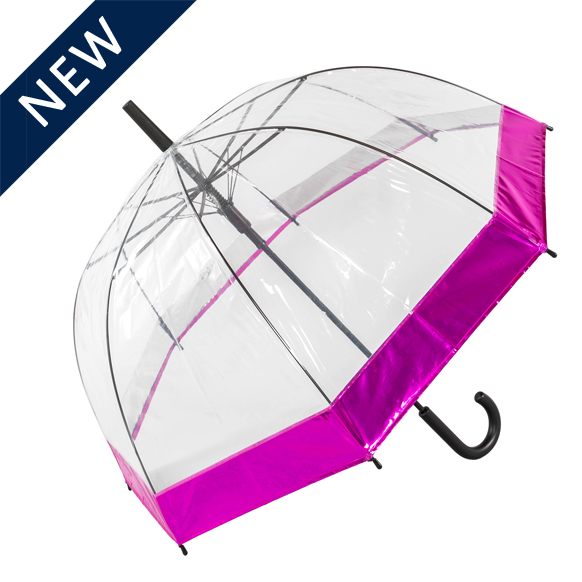 Clear Dome Umbrella with pink border (18020)