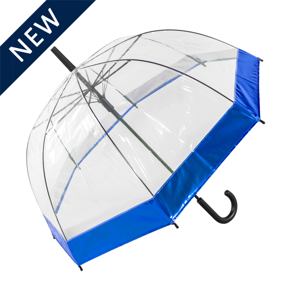 See Through Umbrella with Metallic Blue Border (18020)