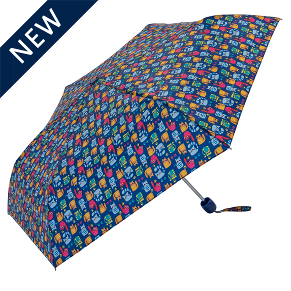 Cat Print Blue Folding Umbrella (31103B)