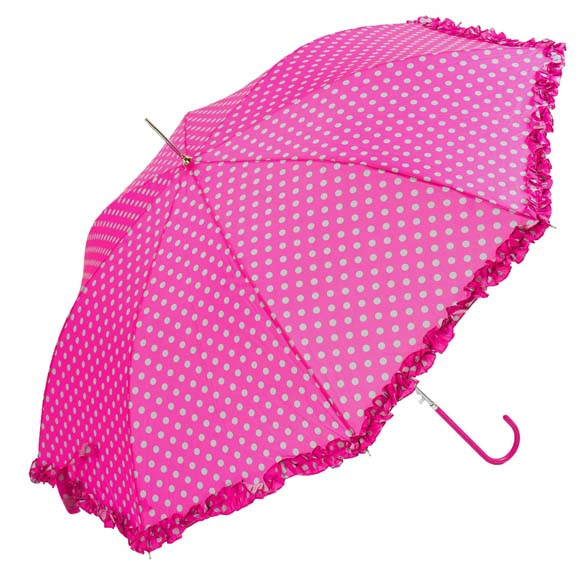 Bright Polka Dot With Frilled Border Pink Ladies Walking Umbrella (3180)