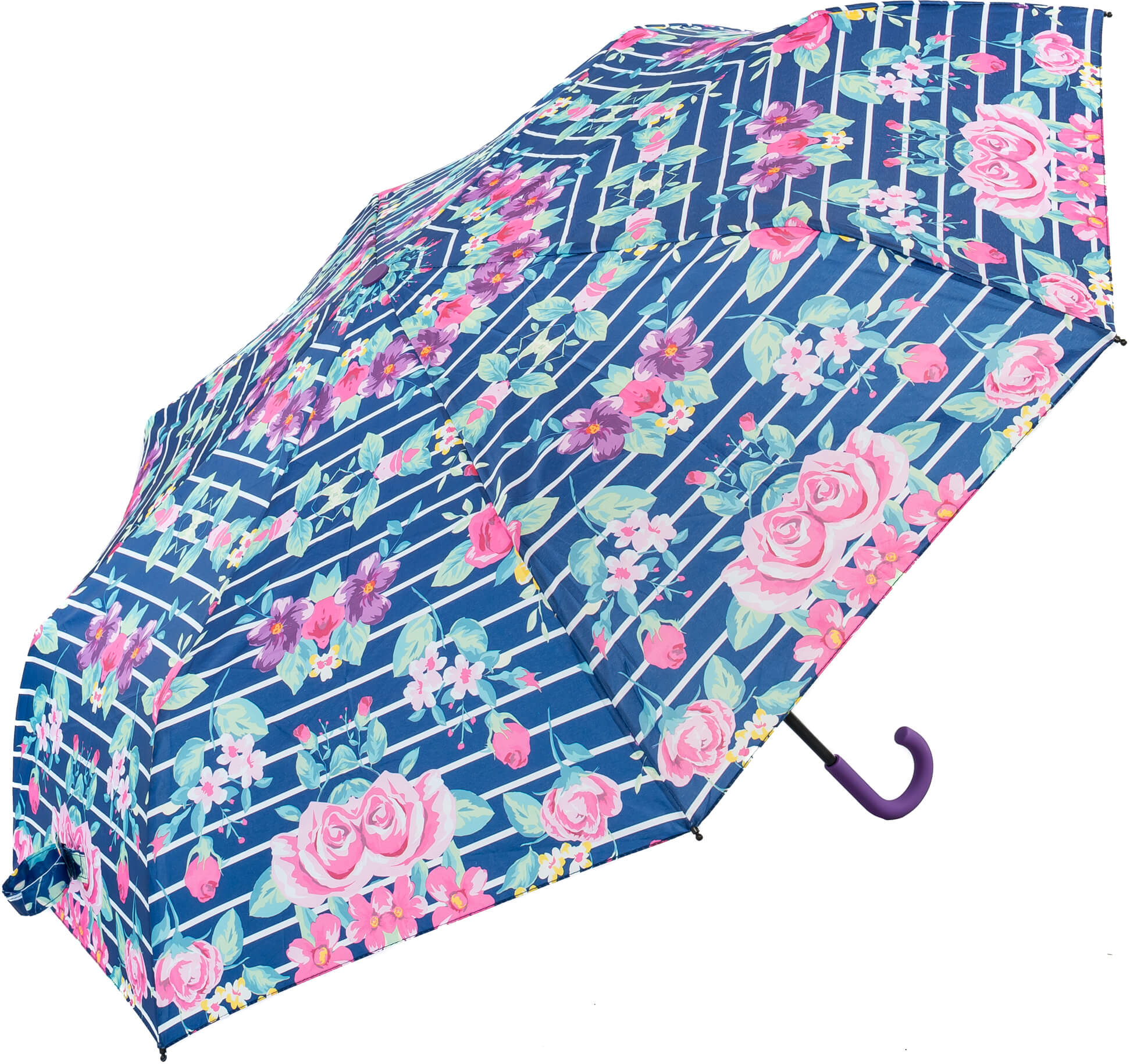 Floral Crook Purple Handle Umbrella (31904P)