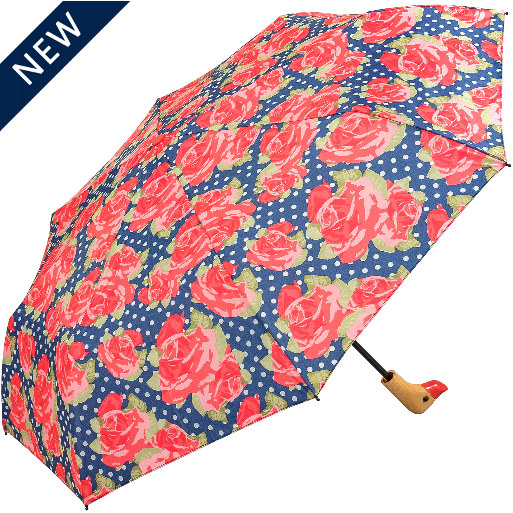Duck Head Handle Large Rose Compact Womens Umbrella(31902-R)